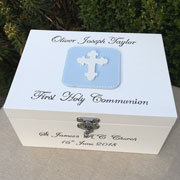 Boy's Personalised First Communion Keepsake Box With Cross