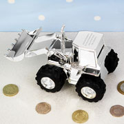 Boy's Personalised Engraved Silver Plated Digger Money Box