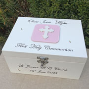 Girl's Personalised First Communion Keepsake Box With Cross