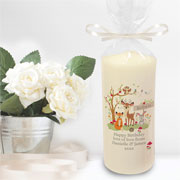 Personalised Woodland Scene Children's Pillar Candle