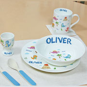 Personalised Dinosaur 4 Piece China Children's Breakfast Set