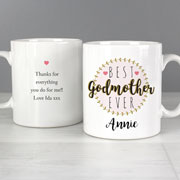 Personalised Best Godmother China Mug Appreciation Gift