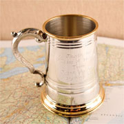 Engraved Personalised Pewter & Brass Pint Tankard