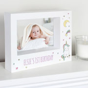 Personalised Baby Unicorn 7 x 5 inch Box Photo Frame