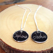 Personalised Sterling Silver Engraved Disc Script Necklace