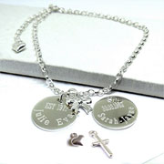 Personalised Silver Duchess Belcher Bracelet With Mini Charm