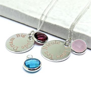 Personalised Silver Plated Edge Birthstone Necklace