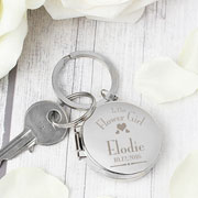 Personalised Decorative Flower Girl Round Photo Keyring