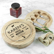 Personalised Traditional Brand Cheese Board Set & Knives