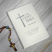 Personalised Children's Ivory Coloured Catholic Bible