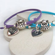Girl's Fairy Suede Bracelet With Personalised Silver Heart