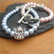 Pearl Fairy Bracelet With Personalised Sterling Silver Heart