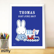 Personalised Miffy Train White Framed Poster Print