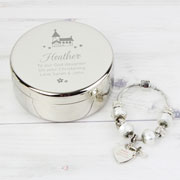 Personalised Church Communion Trinket Box & Charm Bracelet
