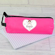 Girl's Personalised Fairy Princess Pink School Pencil Case
