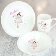Personalised Fairy Princess Girl's Ceramic Breakfast Set