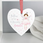 Personalised Fairy Princess Wooden Heart Decoration