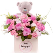 Large Tatty Teddy Pink Baby Clothing Bouquet