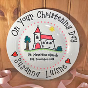 Personalised China Christening Plate in Pink or Blue