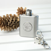 Personalised Silver Plated Lucky Sixpence Mini Hip Flask