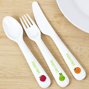 Personalised Healthy Eating Plastic Cutlery Set