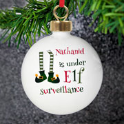 Personalised Elf Surveillance Christmas Tree Bauble