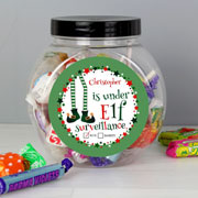 Personalised Elf Surveillance Christmas Sweet Jar