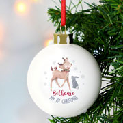 Personalised 1st Christmas Festive Fawn Ceramic Bauble