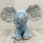 Personalised Embroidered Cubbies Blue Dumble Elephant