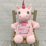 Personalised Cubbies Pink Unicorn Soft Baby Toy