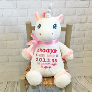 Personalised Cubbies White Unicorn Soft Baby Toy