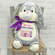 Personalised Baby Girl Cubbies Grey Birth Bunny