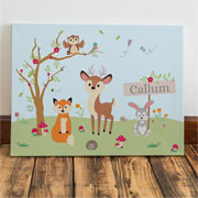 Personalised Woodland Baby Canvas