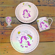 Personalised Bone China Unicorn Breakfast Set
