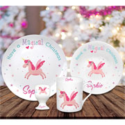 Personalised Magical Christmas Unicorn China Breakfast Set
