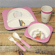 Personalised Flopsy Bunny Bamboo Breakfast Or Dinner Set
