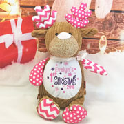 Personalised First Christmas Cubbies Pink Reindeer Toy