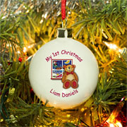 Personalised Teddy & Window Christmas Bone China Bauble