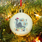 Personalised Bone China Dinosaur 1st Christmas Bauble