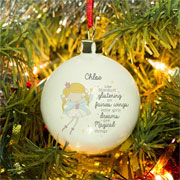 Personalised Bone China Fairy Christmas Tree Bauble