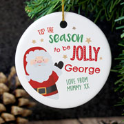 Personalised Tis the Season Round Ceramic Decoration