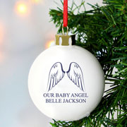 Personalised Angel Wings Memorial Bauble