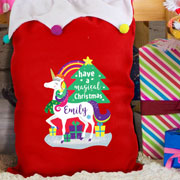 Personalised Unicorn Multicoloured Pom Pom Christmas Sack