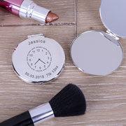 Engraved New Mummy Round Silver Plated Compact Mirror