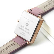 Personalised Bat Mitzvah Pink Blush Girl's Leather Watch