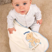 Personalised Fleece Baby Boy Teddy Blanket
