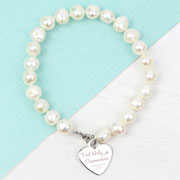 Personalised First Holy Communion White Pearl Bracelet