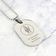 Personalised St Christopher Stainless Steel Dog Tag Necklace