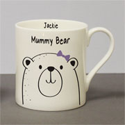 Personalised Mummy Bear Large Bone China Balmoral Mug