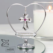 Personalised Silver Plated Crystocraft Cross Ornament